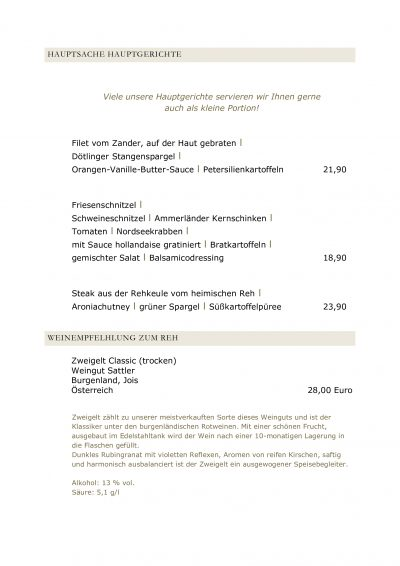 Speisekarte vom Landgasthaus Brüers