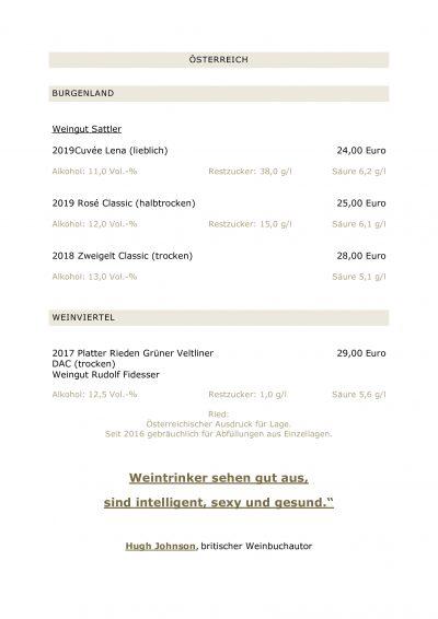 Weinkarte vom Landgasthaus Brüers